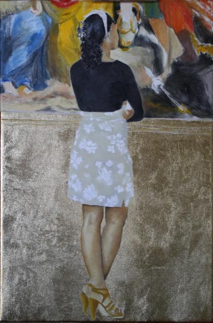 Looking at La Deposizione dalla croce di Alessandro Allori 40x60 Olio e orone su tela 2010 Valerio Giovannini